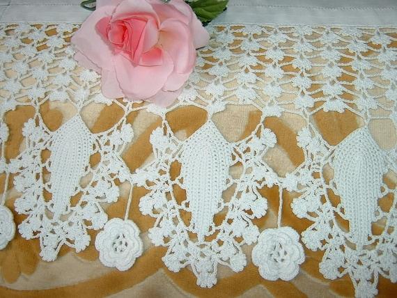 Bordure Di Pizzo All Uncinetto.Pizzo Per Bordura All Uncinetto Bordo Per Tenda Con Le Roselline D Irlanda A Cascata Crochet Casa Stile Romantico Su Ordinazione