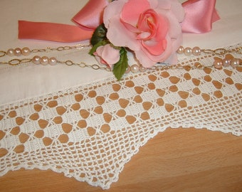 Lace for crochet border-border with chequered motifs-white cotton lace to apply-shabby chic style-custom
