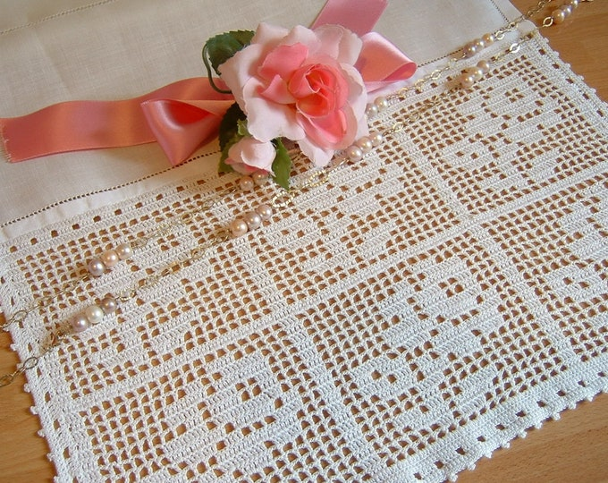 Featured listing image: Lace for curtains with roses. Lace handmade crochet with filet technique. Shabby Chic Crochet. White cotton. To order.