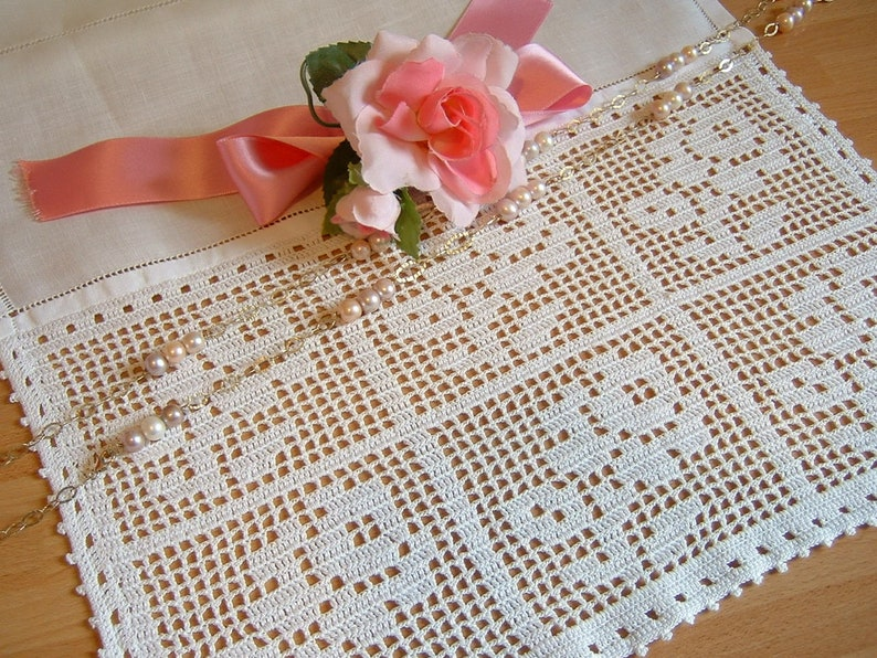 Lace for curtain with roses Hand-made lace crochet with filet technique White cotton Crochet shabby chic Custom.