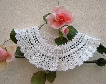 Crochet crochet-look vintage-White cotton collar-collar retro chic Victorian-Crochet fashion romantic woman