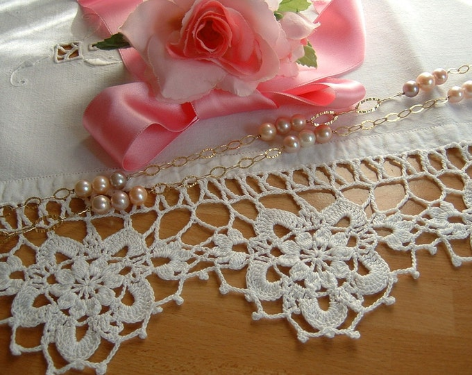 Featured listing image: Lace for white cotton crochet border with anemones. Edge for shelves. Shabby chic Romantic House decoration. To order.