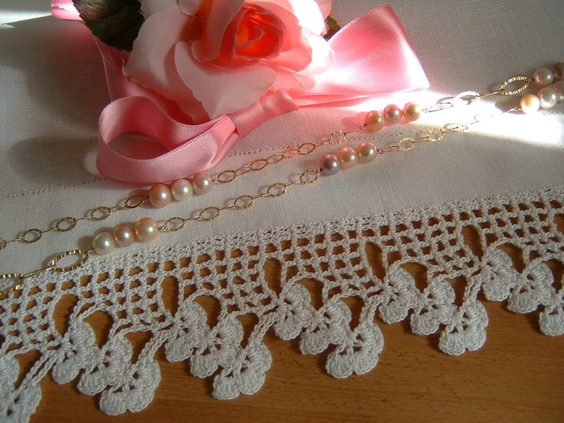 Pizzo Per Bordura Alluncinetto Con Fiori Di Rifinitura Pizzo In Cotone Bianco Crochet Casa Romantica Shabby Chic Su Ordinazione