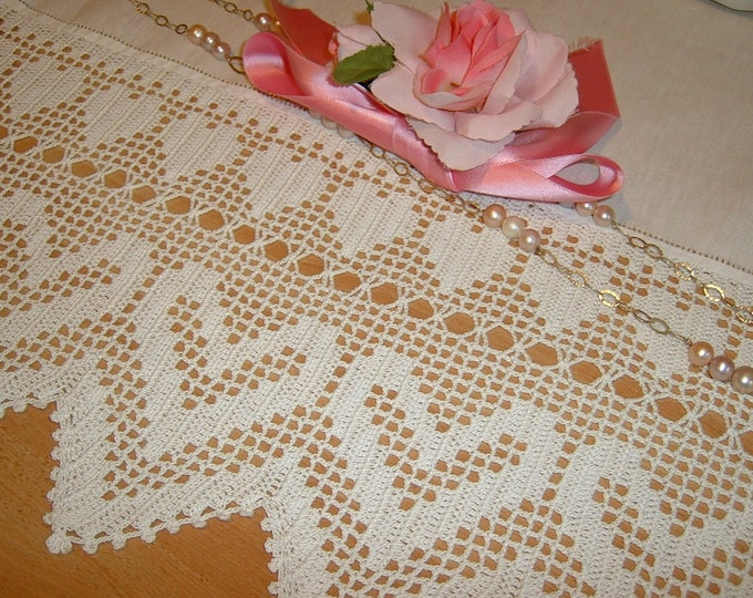Featured listing image: Lace crochet with hearts in white cotton-lace edging in filet-edging for curtains and tablecloth-lace handmade-made to order