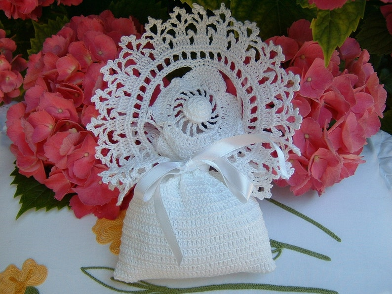 Favor Bag For Crochet Wedding With Flower And Finishing Bows Etsy