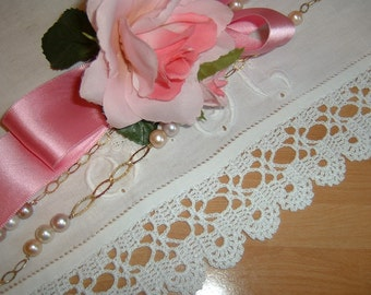 White lace border on hook. Lace with finishing bows. Shabby chic style. Romantic Cotton lace. To order.