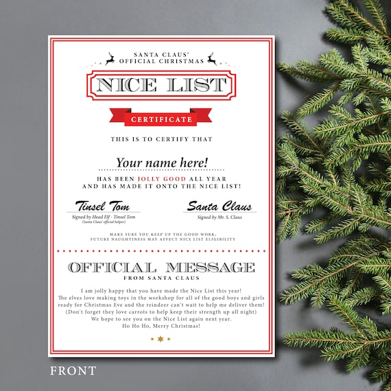 Personalised Nice List Christmas Certificate