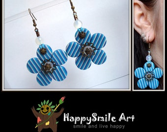 Flower Jewelry Blue Flower Jewelry Green Flower Jewelry Flower Earrings and Necklace Polymer Clay Blue Flower Jewelry Valentines Day Gift