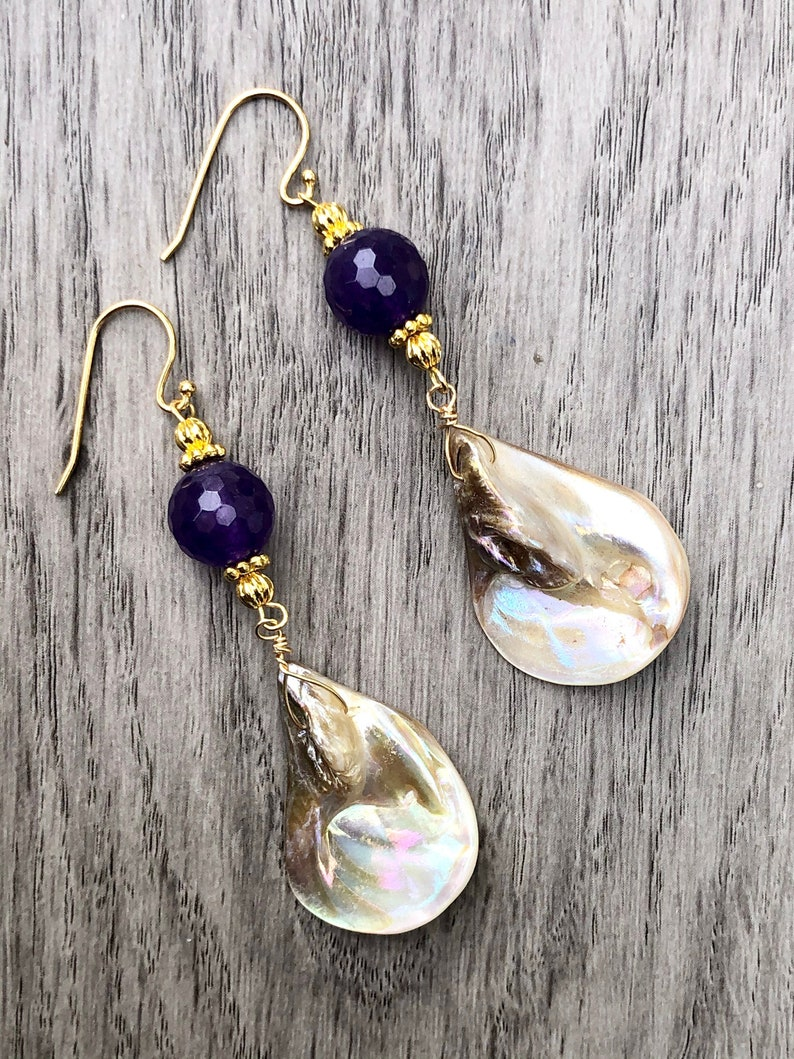 Amethyst Earrings Mother of Pearl Earrings Iridescent Shell Earrings Shell Dangle Earrings Amethyst Dangle Earrings Gemstone Purple Earring