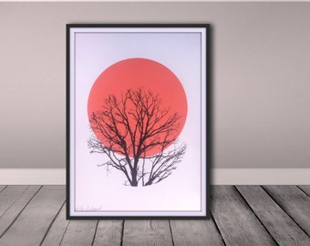 Cirkel and winter trees. A4 screen print. Limited edition print. Signed and numbered.