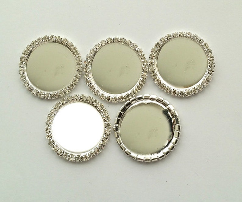 100pcs Rhinestone Caps,Metal Single Row Button Caps Inner 25mm Round Silver Setting BlankTray Flatback bow center white For DIY bow