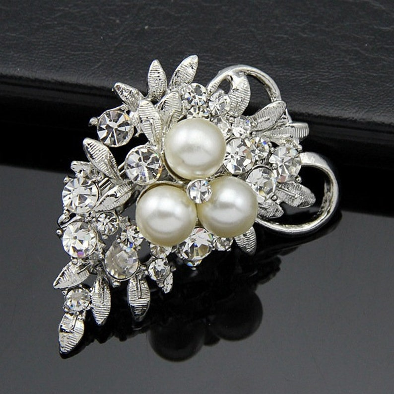 Plated Crystal Rhinestones Brooch Pins Embellishment for Wedding Bridal Party Bouquet DIY Rhinestone Accessories Jewelry AD048