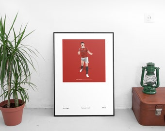 Harry Maguire Manchester United 1998-00 A3 Poster: 297mmx420mm Pogba, Rashford, Lingard, Old Trafford, MUFC, Classic, Football, Retro, Umbro