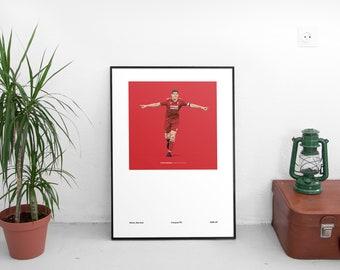 Steven Gerrard 1985-87 Home Kit A3 Poster: 297mmx420mm LFC, Liverpool, Adidas, Classic, Retro, Klopp, Firmino, Mane, YNWA, Anfield, Van Dijk