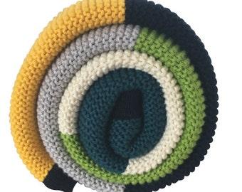 Cotton Baby Blanket: Green Stripe
