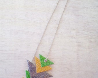 Geometric Necklace Triangular Mustard Yellow Neon Green Grey Recycled Paper Eco-Friendly Jewelry FREE SHIPPING / Τριγωνικό Μενταγιόν
