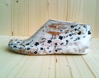 Vintage Wooden Shoe Form Floral Black White Home Decor Hand Painted Collectors Gift FREE SHIPPING Ready to ship