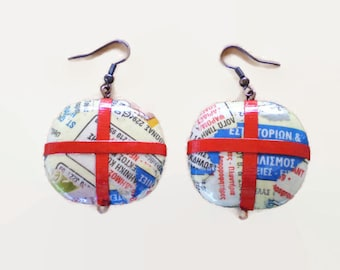 Oval Earrings made with Yellow Pages Decoupage Paper Jewelry Eco Friendly FREE SHIPPING / Οβάλ Σκουλαρίκια από σελίδες του Χρυσού Οδηγού