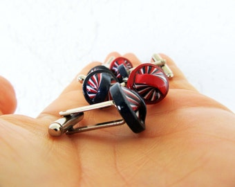 Modern Cufflinκs 4th of July Navy Blue Red White Cuff Links Colorful Recycled Unisex Jewelry Eco-Friendly FREE SHIPPING