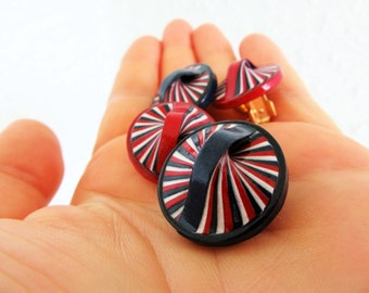 Clip On Earrings 4th of July Navy Blue Red White Large Posts Colorful Recycled  Summer Jewelry Eco-Friendly FREE SHIPPING