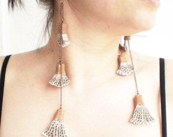 Extra Long Earrings    Shoulder Dusters Cardboard Dangles   Recycled Modern Jewelry   Eco Friendly Jewellery / Σκουλαρίκια από Χαρτόκουτο
