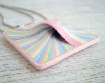 Geometric Rectangular Necklace Pastels Blue Pink Yellow Green Recycled Paper Jewelry  Eco Friendly FREE SHIPPINGReady to Ship