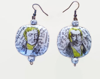 Dangle Earrings Recycled Retro Old Dictionary Paper Oval Decoupage OOAK Earrings Eco Friendly Jewelry FREE SHIPPING / Ρετρό Σκουλαρίκια