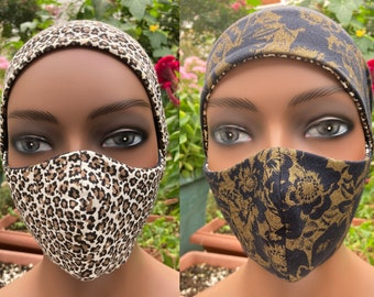 Reversible Cotton Face Mask and Matching Slouchy Beanie
