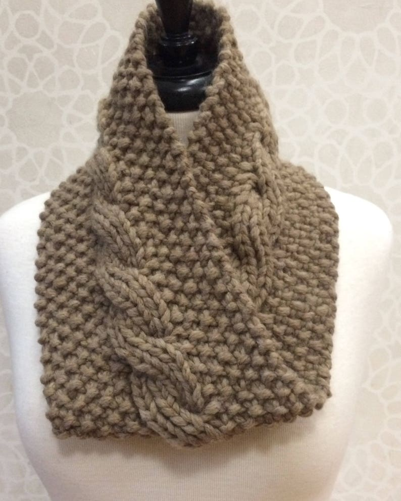 Knit Reversible Cable Neck Warmer image 0