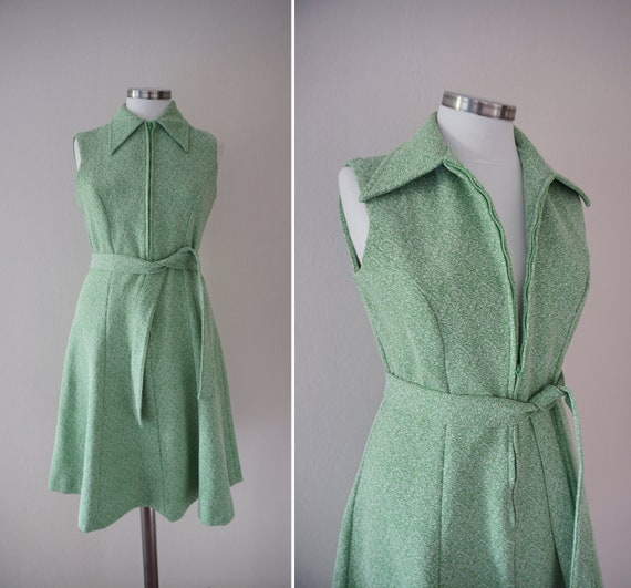 Zipper Front 70s Skater Vintage Dress / Green 1970