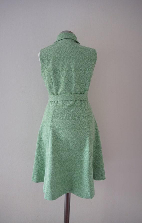 Zipper Front 70s Skater Vintage Dress / Green 197… - image 3