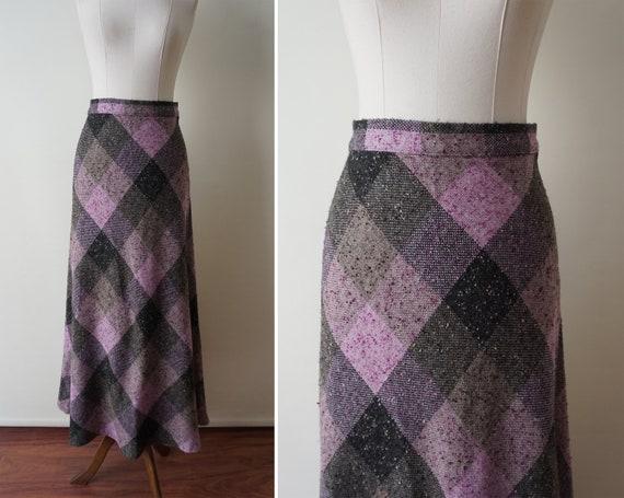 70s Plaid Vintage Maxi Skirt / Purple High Waist W