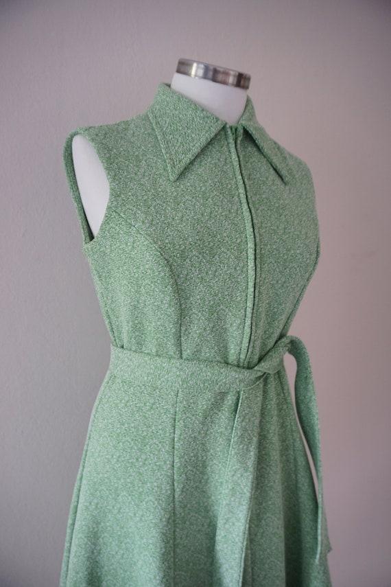 Zipper Front 70s Skater Vintage Dress / Green 197… - image 4