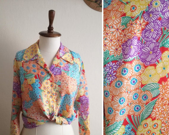 Tea Dyed Vintage Floral Blouse with Blue Flowers