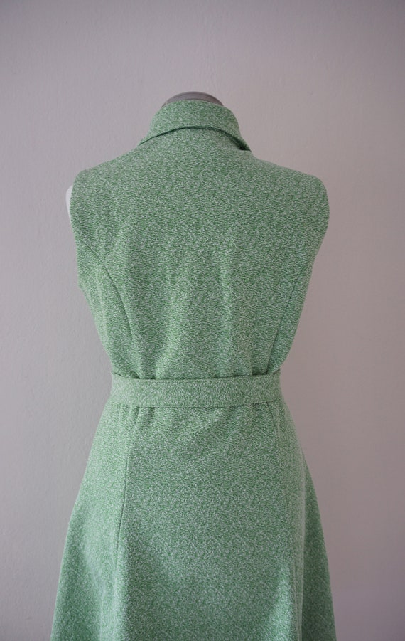 Zipper Front 70s Skater Vintage Dress / Green 197… - image 5