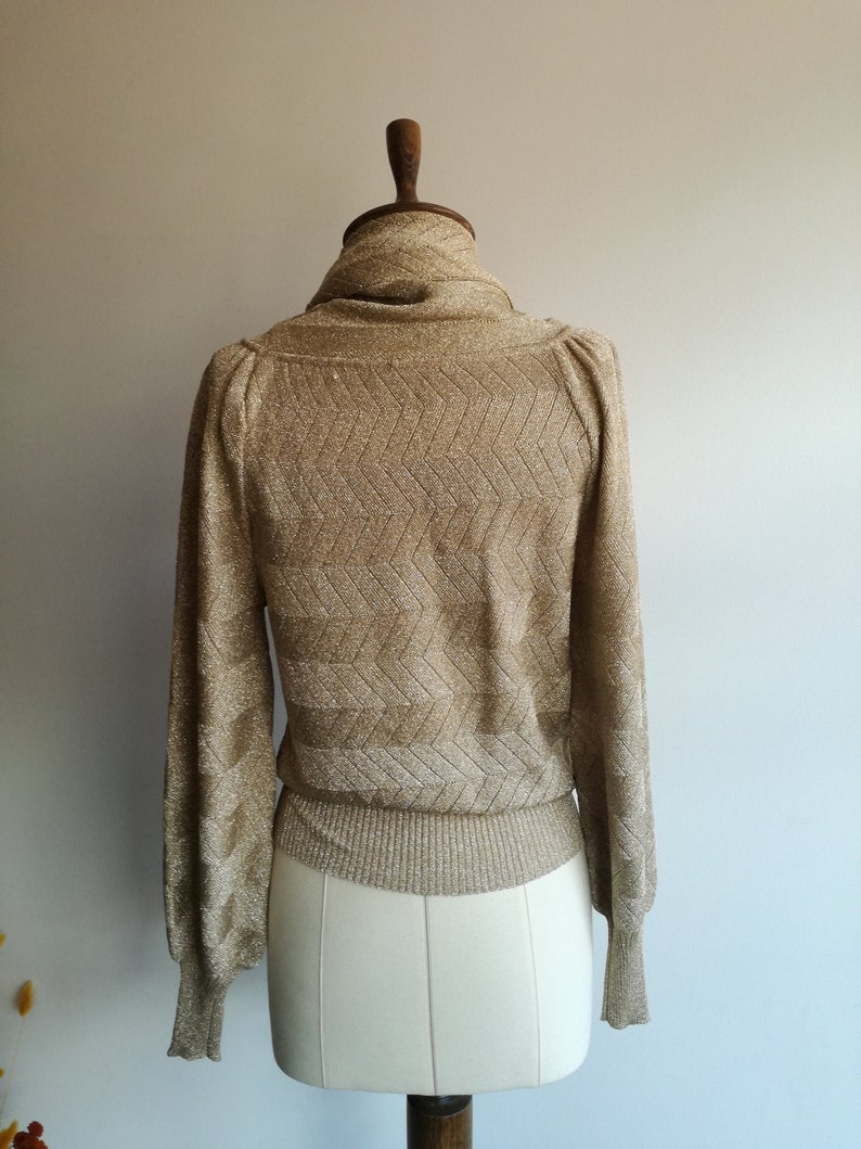 70s Vintage Gold Knit Blouse  Roll Neck Shiny Party Top    Sparkle Gold Evening Sweater