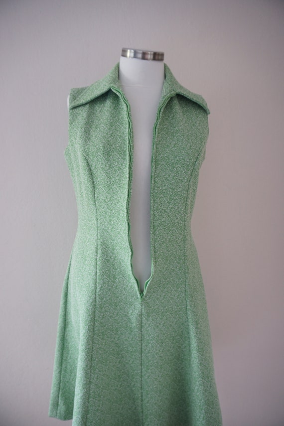 Zipper Front 70s Skater Vintage Dress / Green 197… - image 8