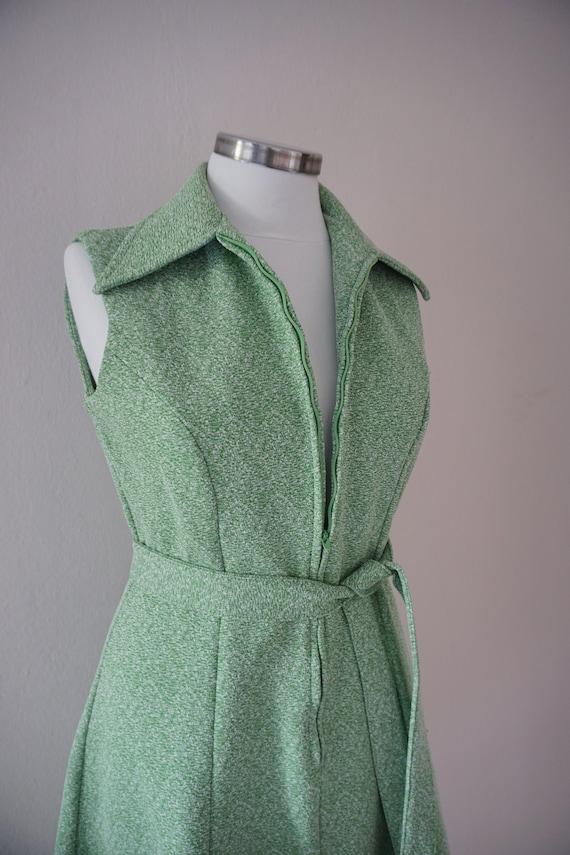 Zipper Front 70s Skater Vintage Dress / Green 197… - image 7