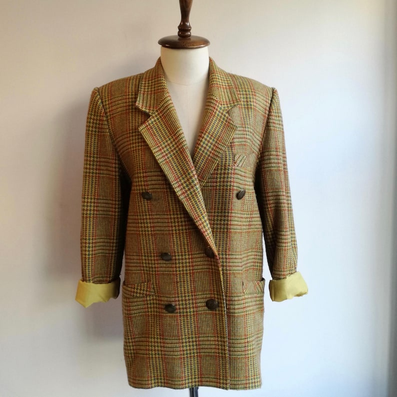 Vintage 80s Yellow Plaid Blazer  Oversized Tartan Vintage Jacket  Loose Fit Double Breasted Blazer