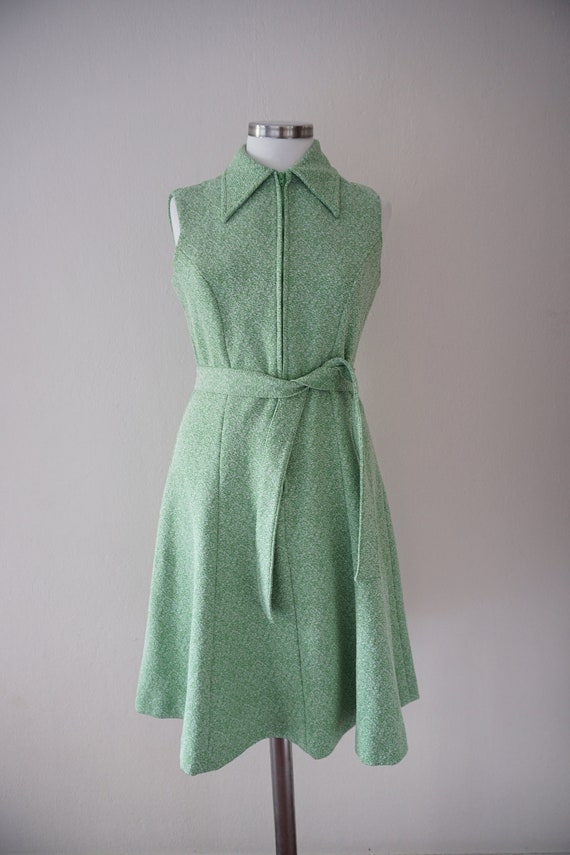 Zipper Front 70s Skater Vintage Dress / Green 197… - image 2