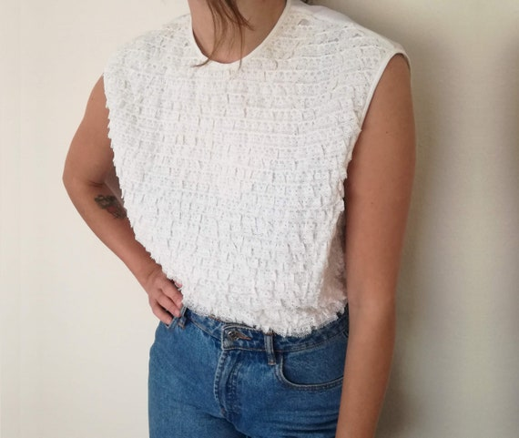 Lace Trim Decorated White Vintage Blouse /  Sleeve