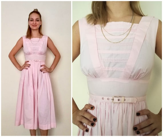 XS Cotton Betty Barclay Vintage Dress / Pink Midi