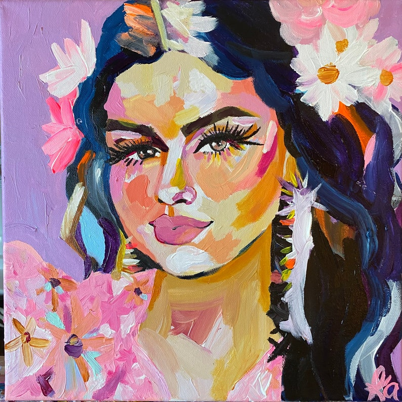 Selena Gomez 12x12 acrylic canvas