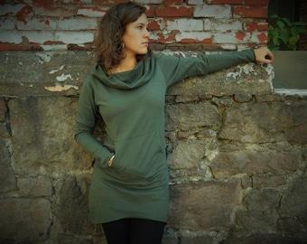 Nomad Dress- hooded cowl dress made from 100% organic cotton fleece - cozy warm dress - sweatshirt dress