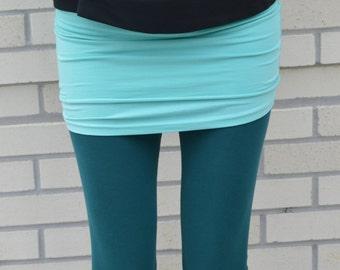 Organic cotton leggings - leggings with ruched ankle - full length leggings - yoga pants