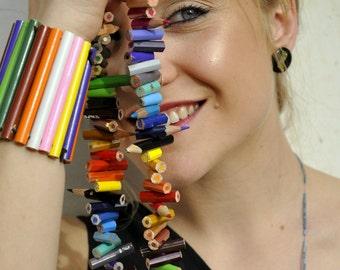 Maxi necklace with pencils - Colored pencil necklace