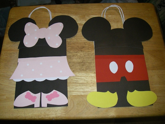 10 Mickey Mouse or Minnie Mouse Birthday Party favor bags.