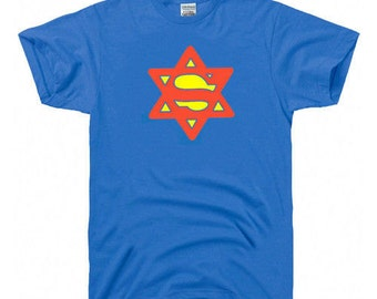 381204dd SUPER JEW Hebrew Hanukkah gift jewish Israel star zion flag T-SHIRT