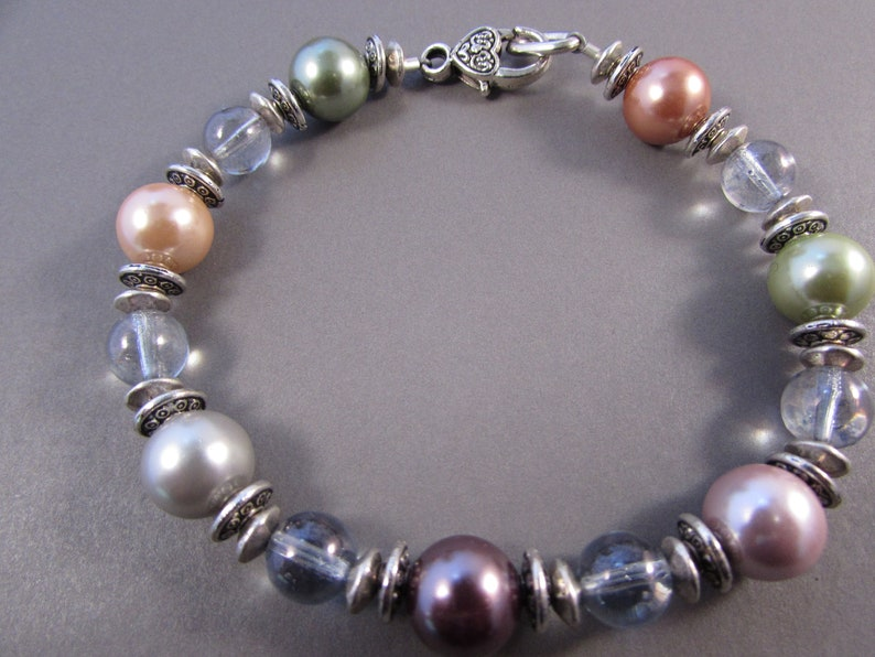 Peach and Clear Czech and Pearl Glass Bracelet with Silver Pewter Statement Bracelets Black and Peach Bracelets Multicolored and Clear