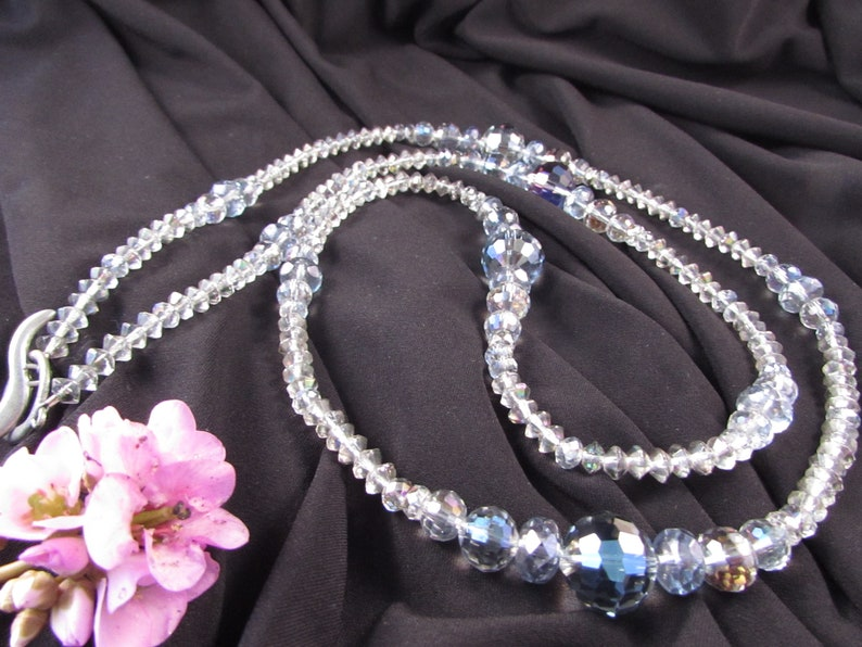Gray Flapper Necklace Vintage Czech Glass and Chinese Gray Crystal Necklace Long Gray Crystal Necklace,Large Crystal Necklace